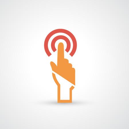 nudge: hand touching icon Illustration