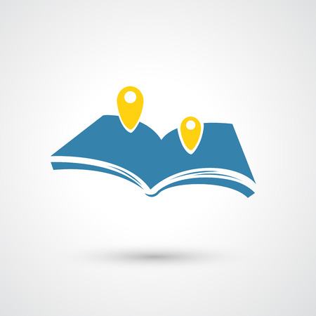 book shop: map book icon  Illustration
