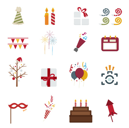 Happy New Year icons Vector