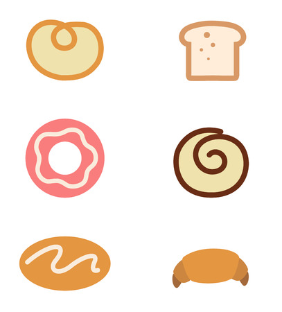 donut shop: Bread icons set isolated on white background