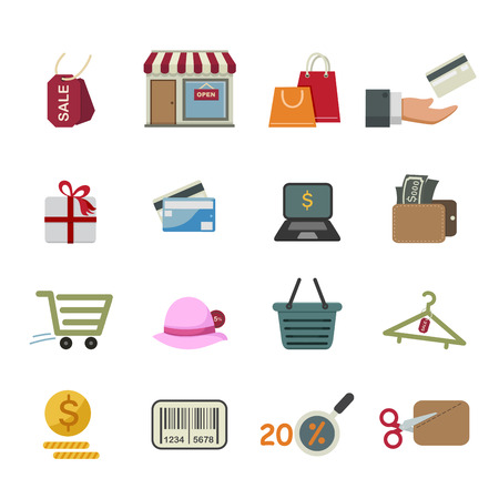 Shopping icons isolated on white background Vector