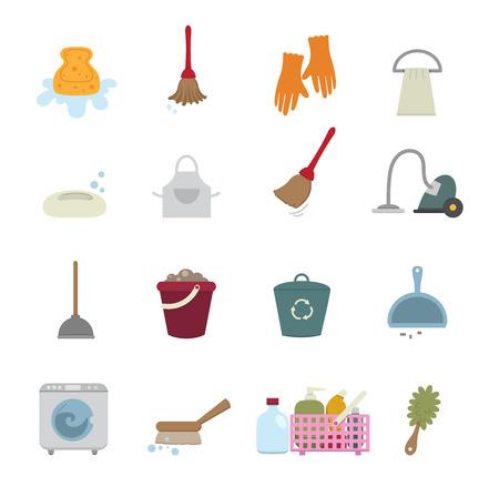 sanificazione: Icone di pulizia isolato su sfondo bianco