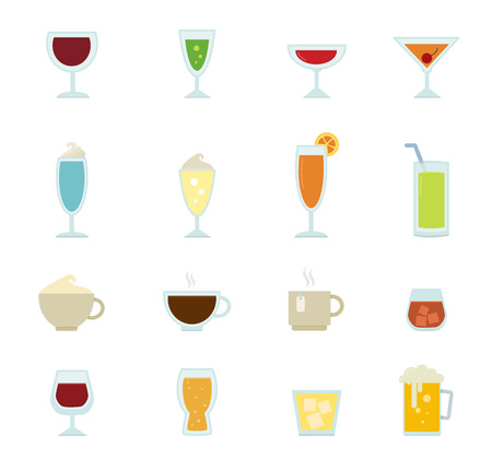 whie wine: Drink icons isolated on white background