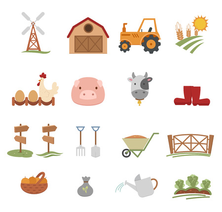 Farm Icons isolated on white background Vector