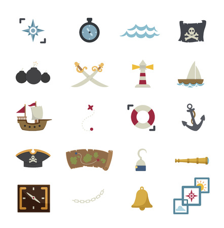 poison sea transport: pirates icons isolated on white background