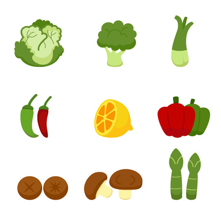 fresh vegetable: Vegetables Icons isolated on white background