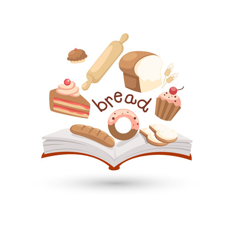 swiss roll: Open book and icons of bread  Concept of education Illustration