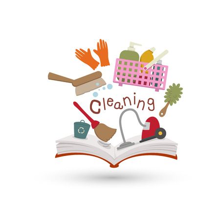 cleaning equipment: Open book and icons of cleaning  Concept of education