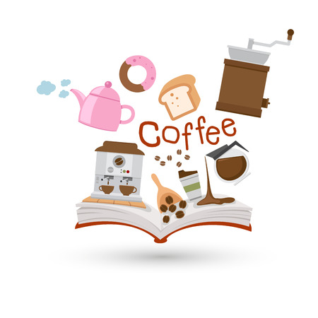 coffee machine: Open book and icons of coffee and tea  Concept of education