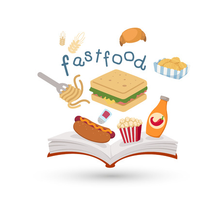 open sandwich: Open book and icons of fast food  Concept of education