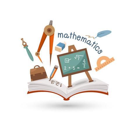 simbolos matematicos: Abra el libro y los iconos de la matemática del concepto de la educación Vectores