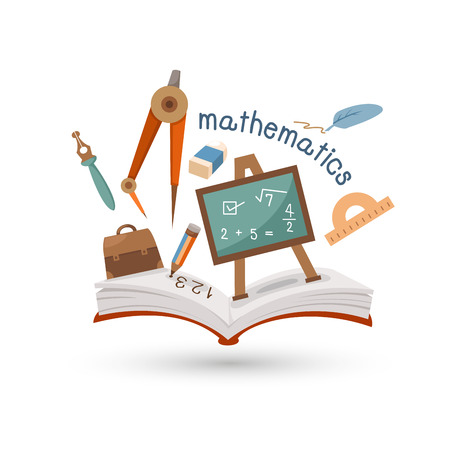 Open book and icons of mathematics  Concept of education Vector