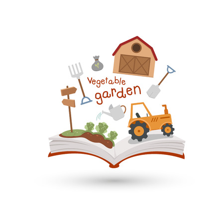 cottage garden: Open book and icons of vegetable garden  Concept of education Illustration