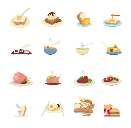 Food Icons isolated on white  Vector