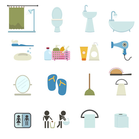 water heater: Bathroom icons Illustration