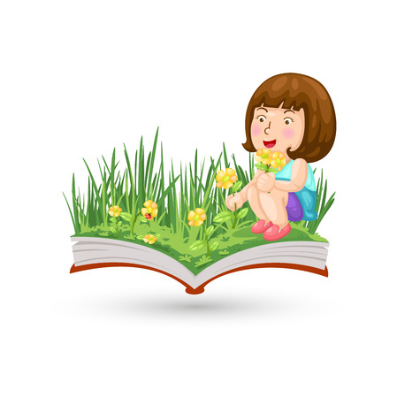herbage: A girl with the flowering book