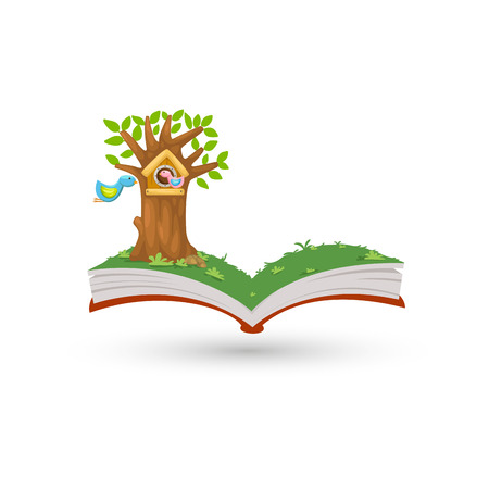 Open book in bird house vector Vector