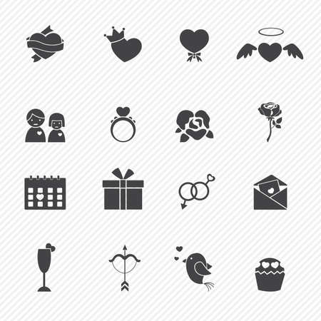 Valentine day love icons Vector