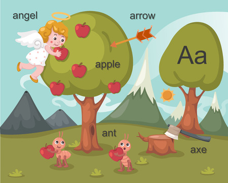 Alphabet A letter angel, apple, arrow, ant, axe  Vector