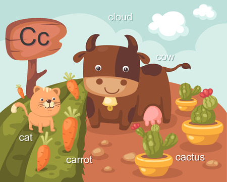 Alphabet C letter cat, carrot, cloud, cow, cactus  Vector