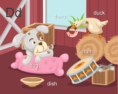 Alphabet D letter dog, donut, dish, drum, duck  Vector