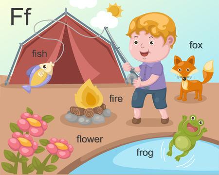 Alphabet F letter fish, fire, flower, frog, fox