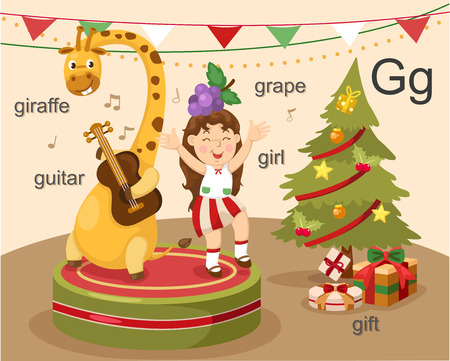 libro caricatura: G del alfabeto letra jirafa, guitarra, chica, uva, regalo