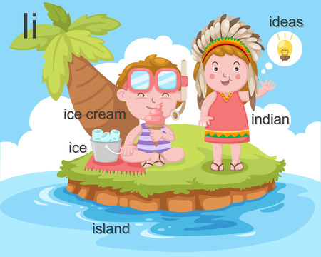 Alphabet I letter ice, ice cream, island, indian, ideas  Vector