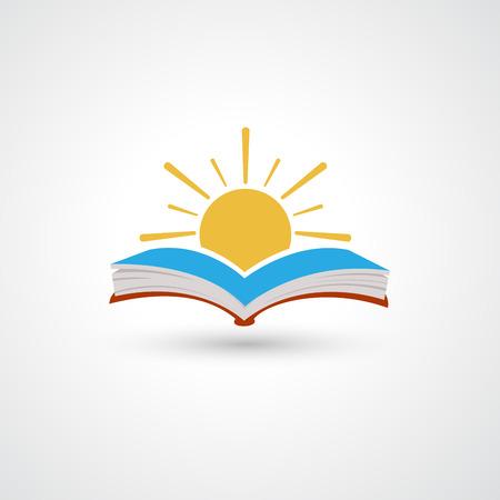 Sunset open book vector