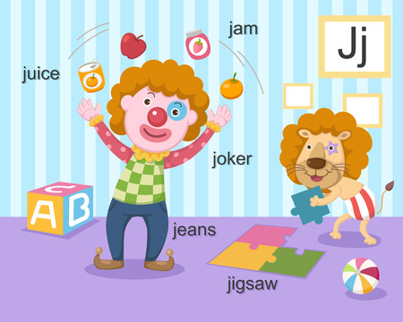 Alphabet J letter juice, jam, joker, jeans, jigsaw  Vector