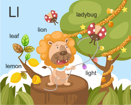 Alphabet L letter leaf, lemon, lion, ladybug, light  Vector