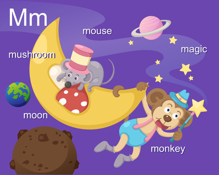 m: Alphabet M letter mushroom, moon, mouse, magic, monkey