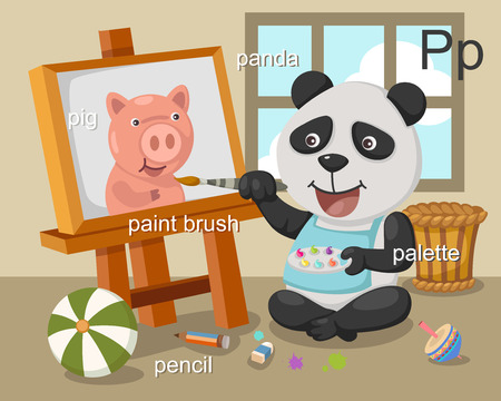 Alphabet P letter pig, panda, paint brush, pencil, palette  Vector