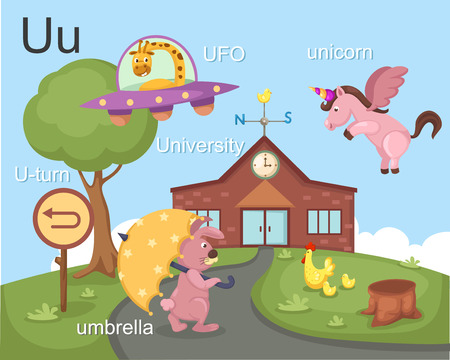 u turn: Alphabet U letter ufo, u-turn, umbrella, university, unicorn  Illustration