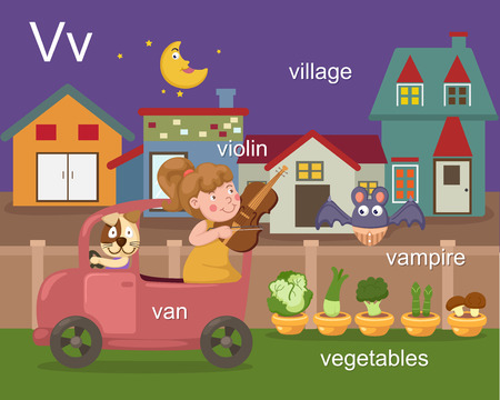 Alphabet V letter van, violin, village, vampire, vegetables  Vector