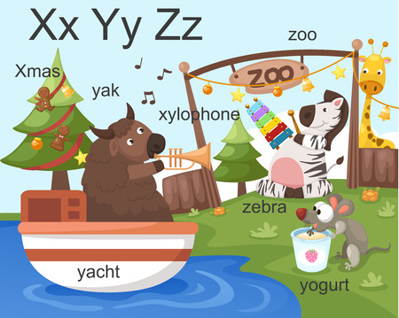 Alphabet X Y Z letters xmas, xylophone, yacht, yogurt, zoo, zebra  Vector