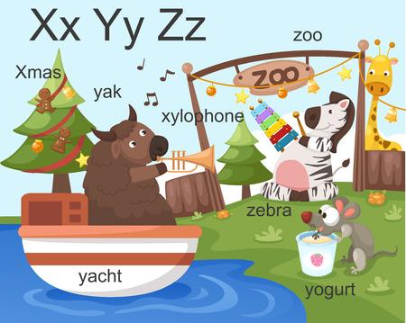 xylophone: Alphabet X Y Z letters xmas, xylophone, yacht, yogurt, zoo, zebra