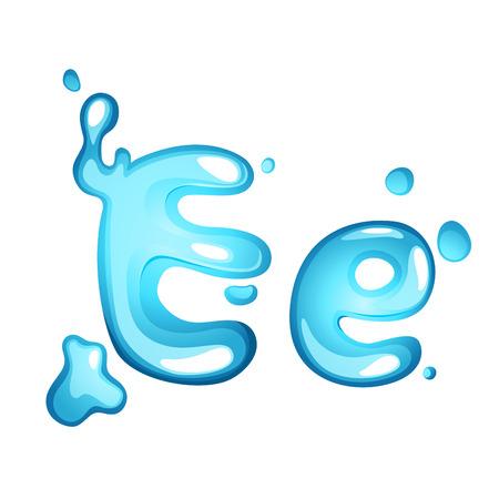 e alphabet: Alphabet water letter E