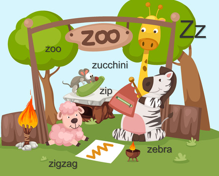 cartoon words: Alphabet Z