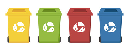 utilize: different color recycle bins