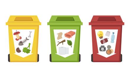 異なる色のごみ箱  イラスト・ベクター素材