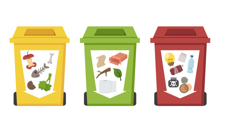 reciclable: diferentes papeleras de reciclaje de color Vectores