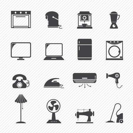 aire acondicionado: iconos electrónicos domésticos Vectores
