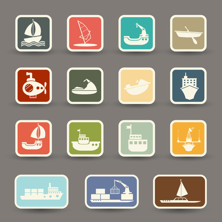 inflate boat: boats and ships icons Illustration