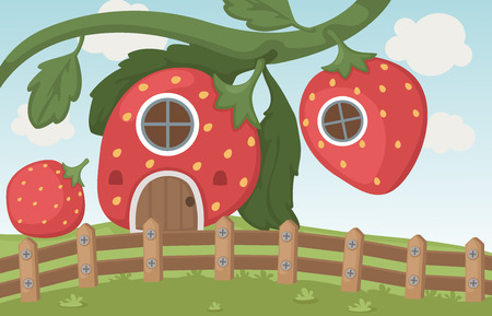 Illustration of a strawberry house Vector