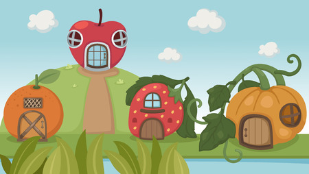 Illustration of a strawberry house and pumpkin house and orange house  Vector