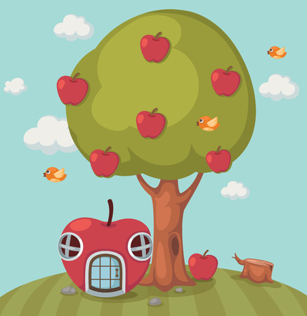 Illustration of a big tree apple and apple house Vector