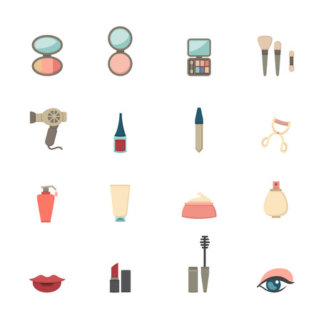 makeup products: Makeup Cosmetic icons Illustration