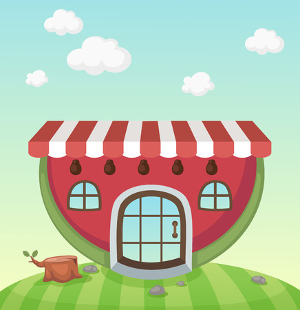 Illustration of a watermelon house Vector
