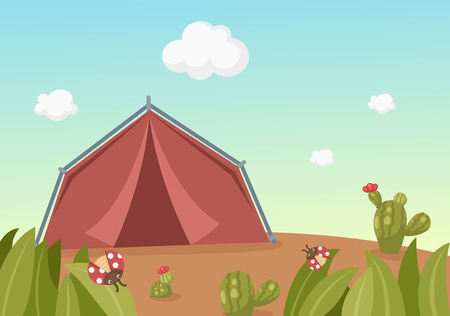 Illustration of landscape with tent Vector